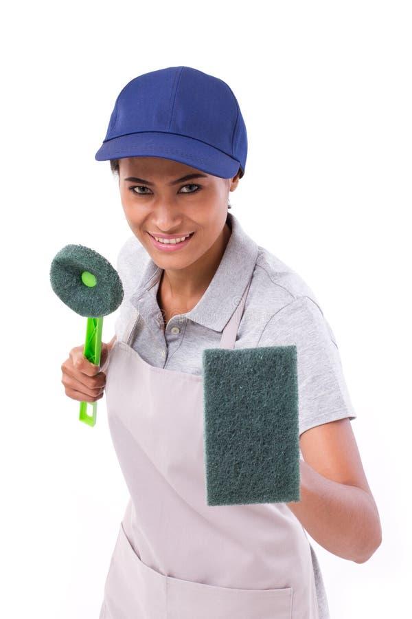 Zekere, professionele vrouwelijke reinigingsmachine klaar voor plicht stock afbeeldingen