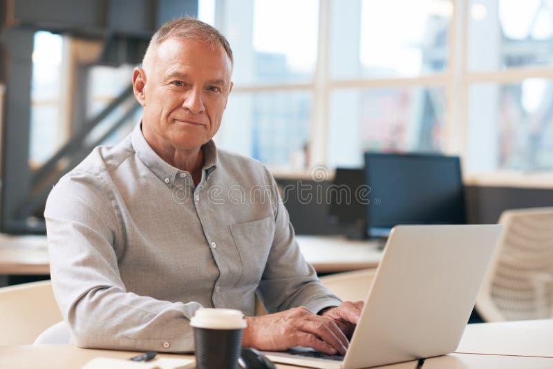 Zekere rijpe zakenman die aan laptop in een bureau werken stock afbeelding