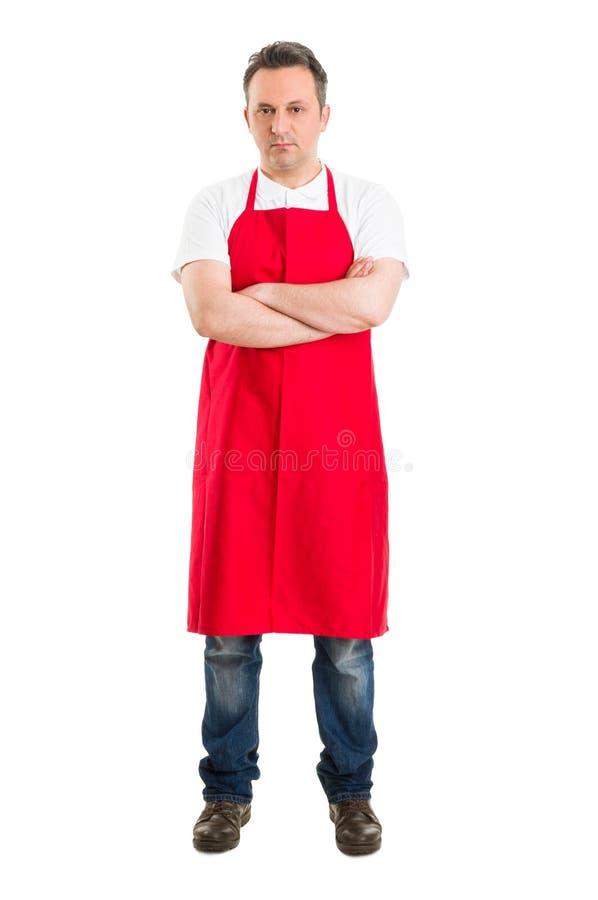 Zekere slager of supermarktarbeider royalty-vrije stock foto