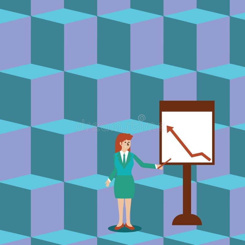 Zekere Vrouw in de Stok van de Pakholding en het Richten aan Grafiek van Pijl het Uitgaan op Freestanding Whiteboard vector illustratie
