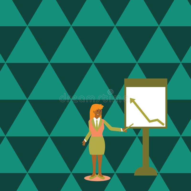 Zekere Vrouw in de Stok van de Pakholding en het Richten aan Grafiek van Pijl het Uitgaan op Freestanding Whiteboard stock illustratie