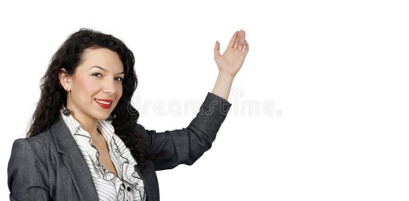 Zekere vrouw die informatie voorstelt stock foto