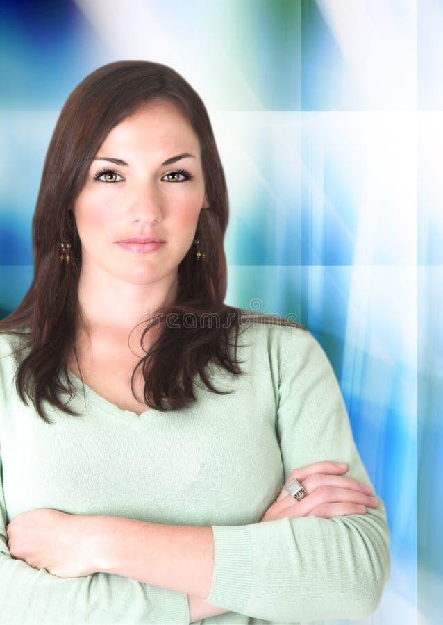 Zekere vrouw op digitale achtergrond stock foto's