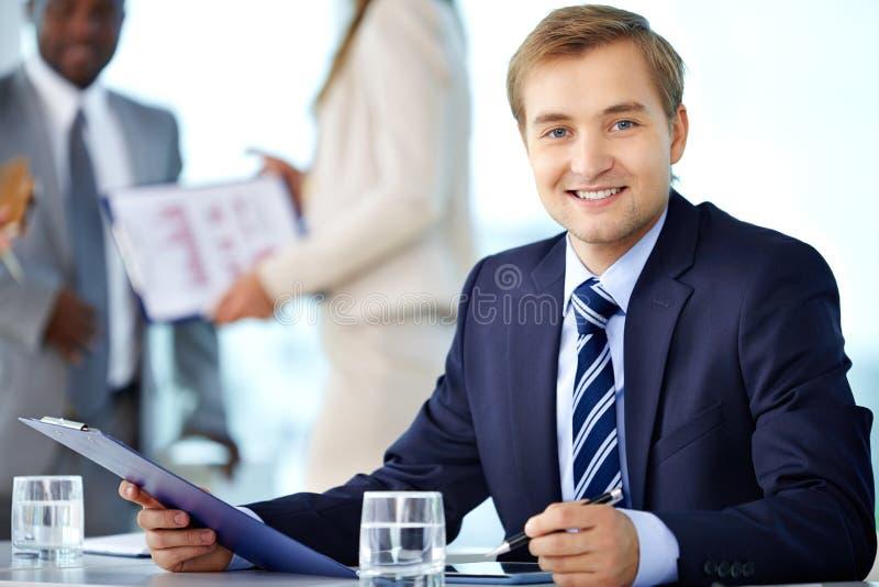 Zekere werkgever stock afbeelding