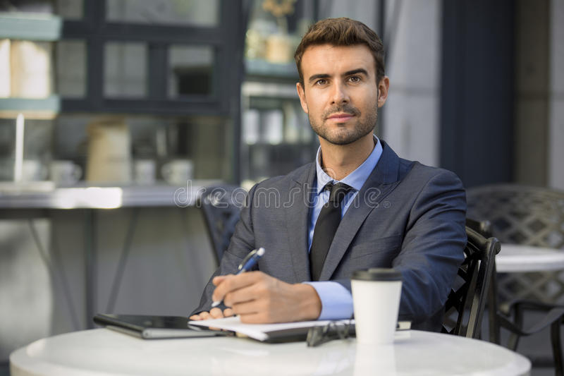 Zekere zakenman stock afbeelding