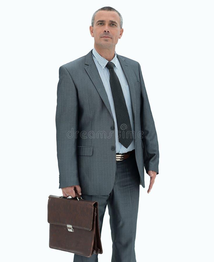 Zekere zakenman met aktentas royalty-vrije stock afbeelding