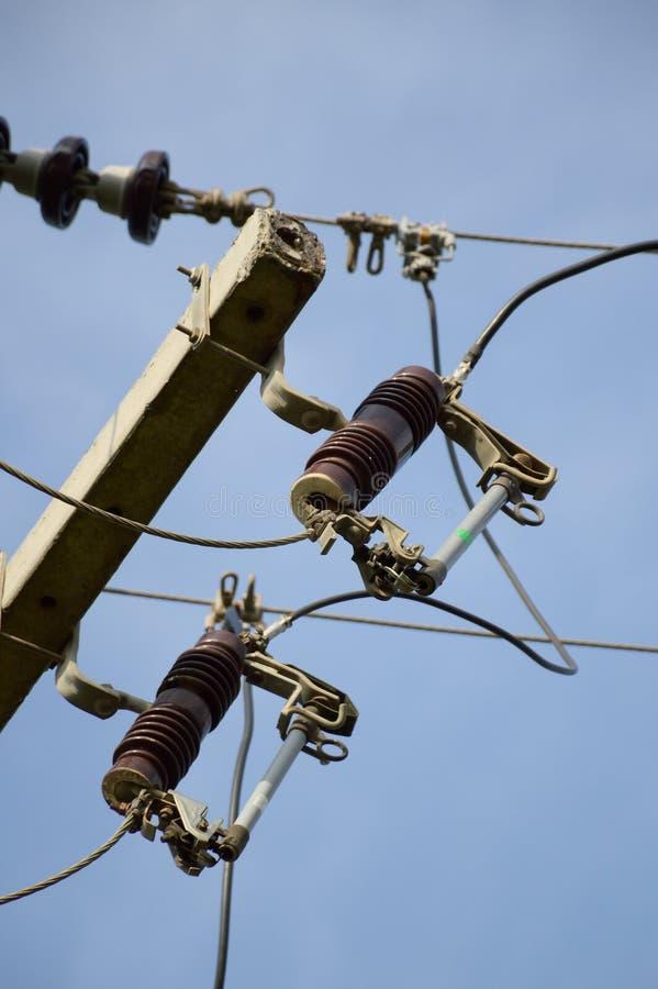 Zekering op elektriciteitspost royalty-vrije stock foto
