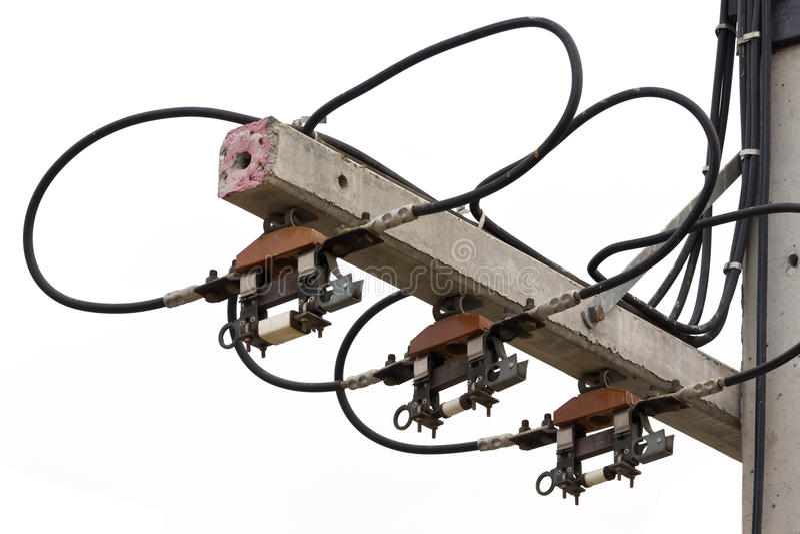 Zekeringen en kabelhoogspanning stock foto's