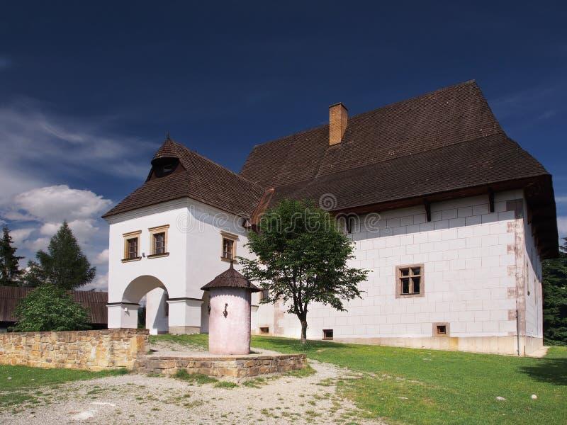 Zeldzame manor in Pribylina royalty-vrije stock fotografie