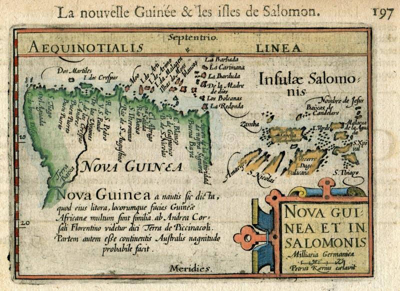 Zeldzame Oude Kaart Nouvelle Guinee & Les Isles DE Solomon Vreedzame Bertius 1602 stock foto