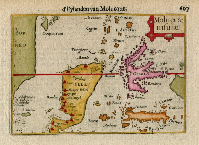 Zeldzame Oude Kaart van E BRITS-INDIË, INDONESIË, MOLUCCA is CELEBES 1606 royalty-vrije stock afbeelding