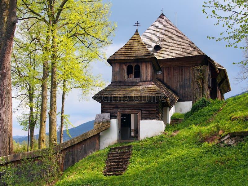 Zeldzame Unesco-kerk in Lestiny, Slowakije royalty-vrije stock foto