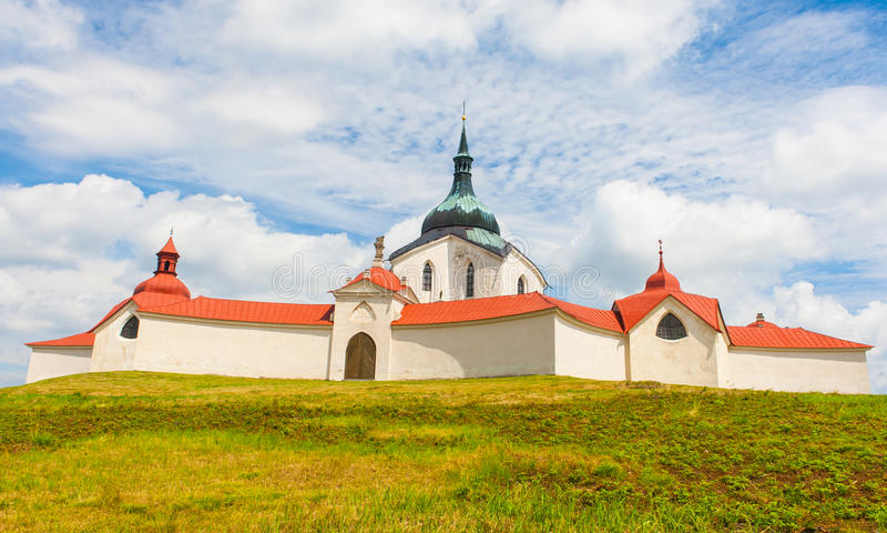 Zelena Hora. Pilgrimage church of Saint John of Nepomuk at Zelena Hora, Zdar nad Sazavou, Czech Republic is the final work of a famous baroque architect Jan stock image