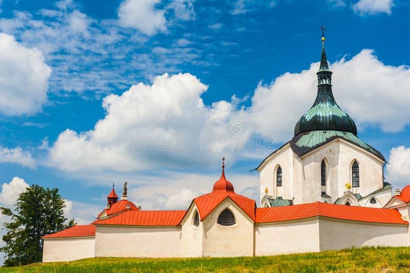 Zelena Hora. Pilgrimage church of Saint John of Nepomuk at Zelena Hora, Zdar nad Sazavou, Czech Republic is the final work of a famous baroque architect Jan stock photos