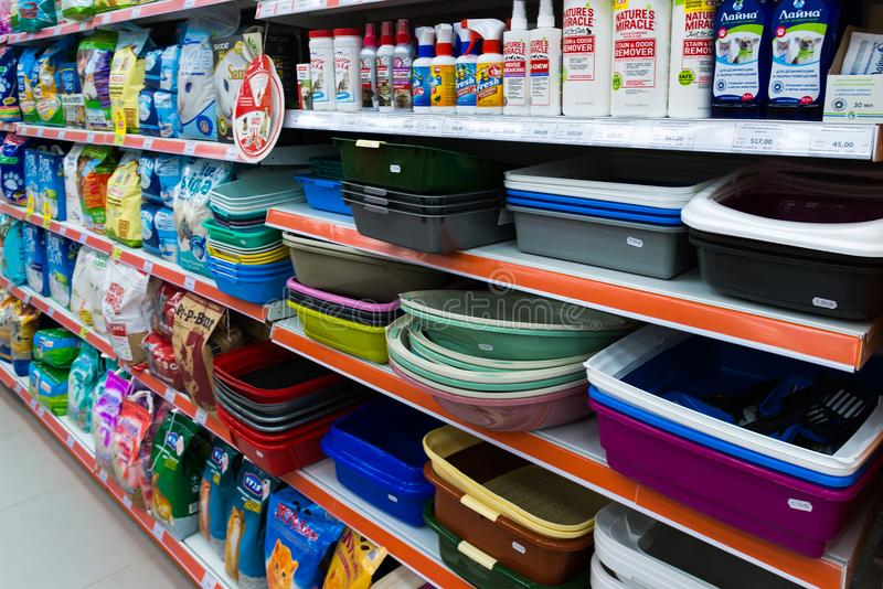 Zelenograd, Russia - September 15. 2017. Animal care products in pet store Four paws at mall Panfilov. Zelenograd, Russia - September 15. 2017. Interior of pet stock photography