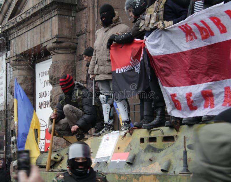 Zelf - defensie van Maidan stock afbeeldingen