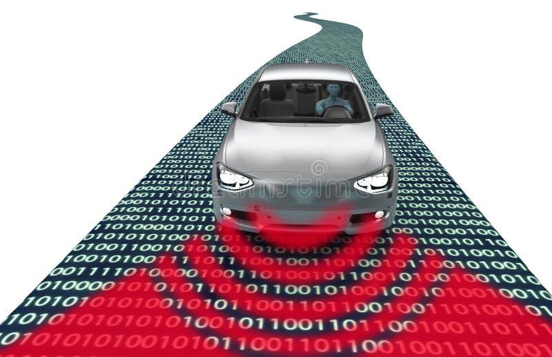 Zelf drijf elektronische computerauto op weg stock illustratie