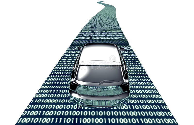 Zelf drijf elektronische computerauto op weg vector illustratie