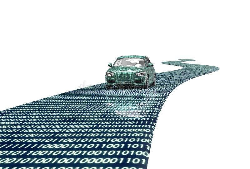 Zelf drijf elektronische die computerauto op wit wordt geïsoleerd royalty-vrije illustratie