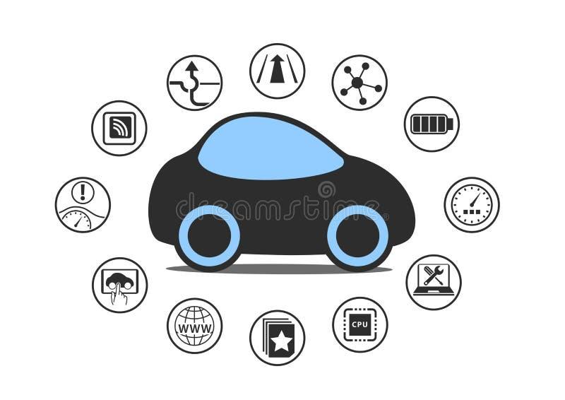 Zelf drijfauto en autonoom voertuigconcept Pictogram van driverless auto met sensoren zoals steeghulp, hoofd op vertoning vector illustratie