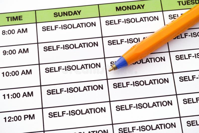 Zelf-isolatie, elke dag volgens een dagelijks schema royalty-vrije stock fotografie