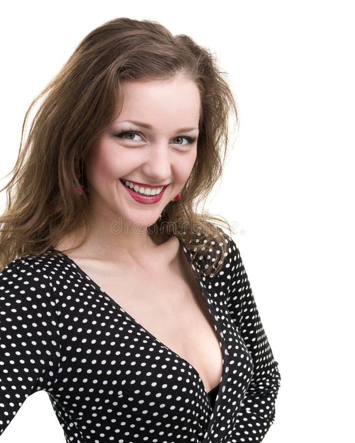 Zelf-portret Flirtvrouw op wit wordt geïsoleerd dat stock foto's