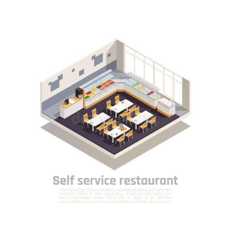 Zelfbedieningsrestaurant vector illustratie