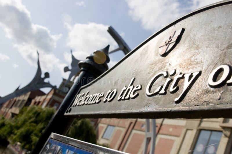 Zelfbeschikkingsvermogen openbaar beeldhouwwerk in Lincoln City Centre, Lincoln, Li royalty-vrije stock fotografie