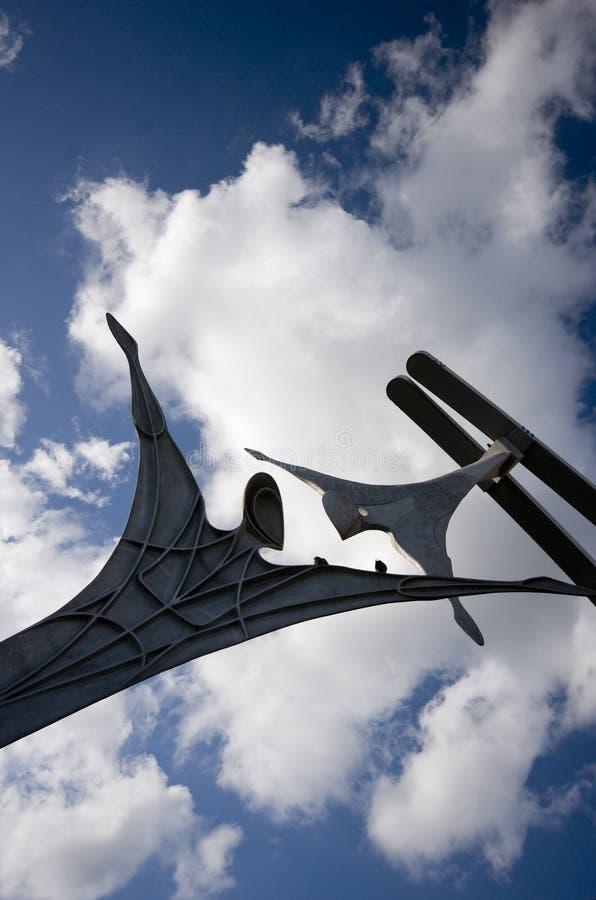 Zelfbeschikkingsvermogen openbaar beeldhouwwerk in Lincoln City Centre, Lincoln, Li stock afbeeldingen