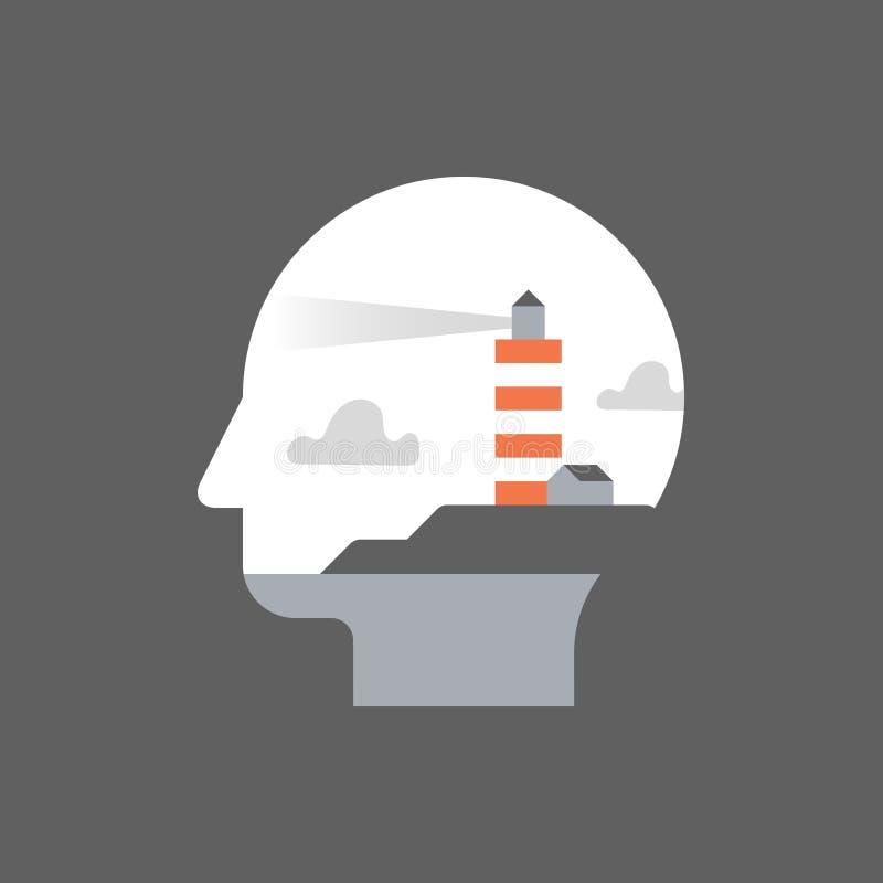 Zelfbewustzijn en mindfulness, potentiële ontwikkeling, mentorshipconcept, het levenslange leren stock illustratie