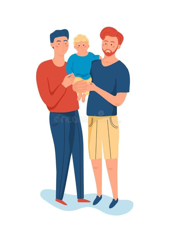 Zelfde geslachtspaar die van knappe mensen, zijn kleine zoon houden royalty-vrije illustratie