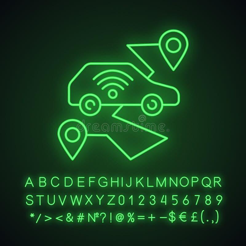 Zelfrijdend motorvoertuig - neonlichtpictogram stock illustratie