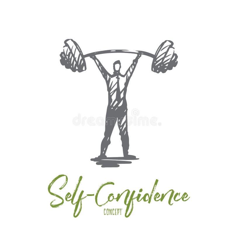 Zelfvertrouwen, succes, werkgever, sterkte, carrièreconcept Hand getrokken geïsoleerde vector royalty-vrije illustratie