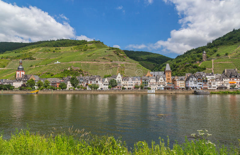 Zell at the Moselle panorama stock images