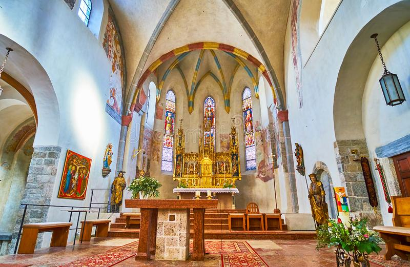 At the altar of St Hippolyt Church, Zell am See, Austria stock image
