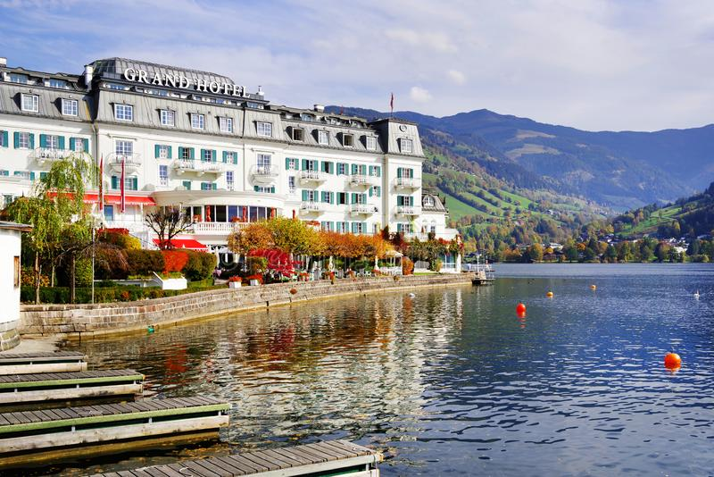 ZELL AM SEE, AUSTRIA, 14 OCTOBER, 2018: The Grand Hotel is situated in the old town of Zell am See stock images