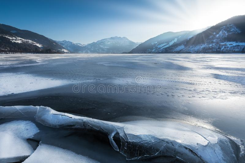 Zell am See in winter stock photography