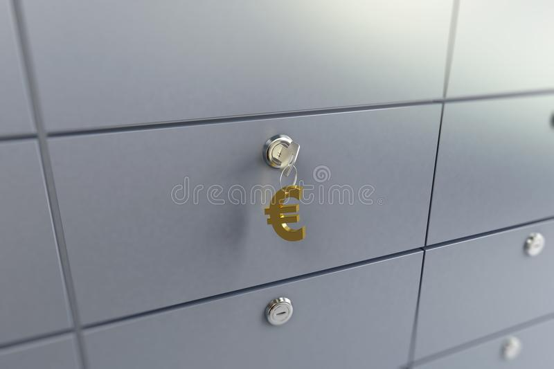 Zelle im Bankschlüsselanhänger auf den Schlüsseln unterzeichnen Euro lizenzfreie abbildung