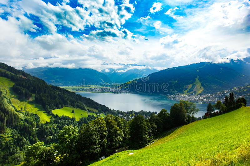 Zeller See lake. Zell Am See, Austria, Europe. Alps at background. stock image
