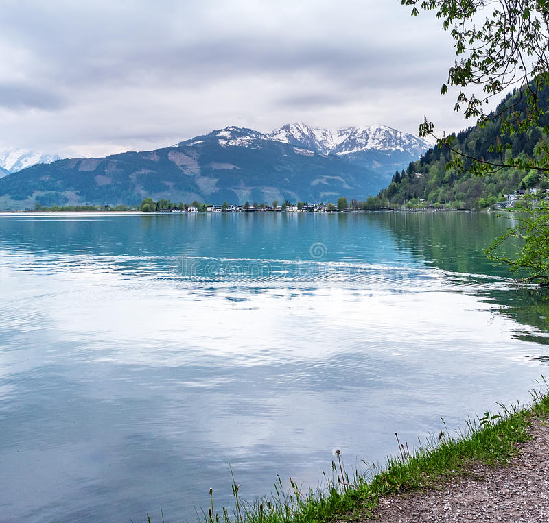 Zeller See Salzburg spring, cloudy day stock images