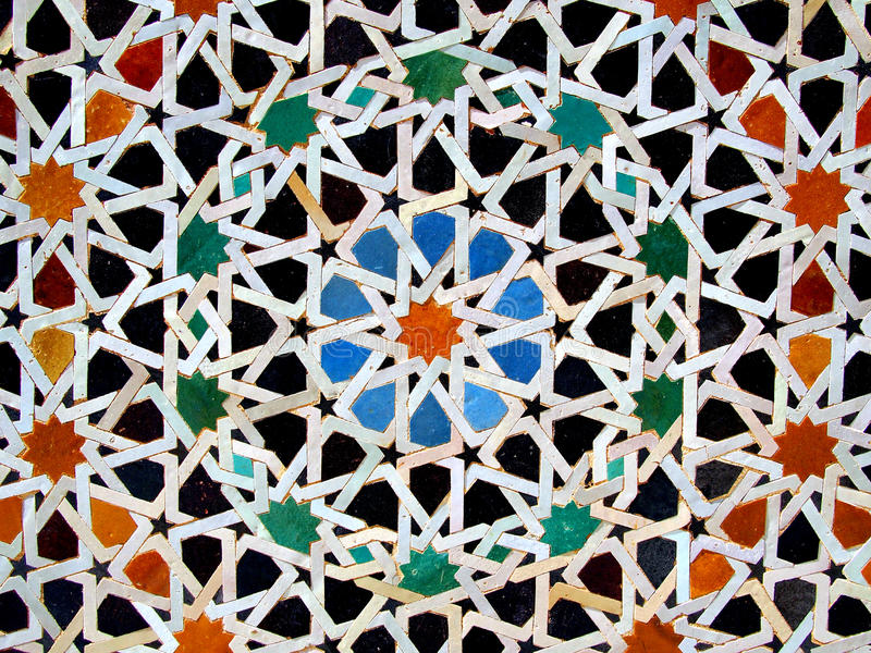 Zellige, marokańskie mozaik płytki obraz stock