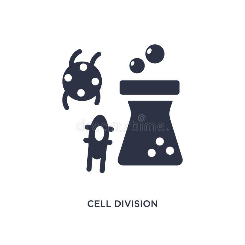 Zellteilungsikone auf weißem Hintergrund Einfache Elementillustration vom Chemiekonzept lizenzfreie abbildung