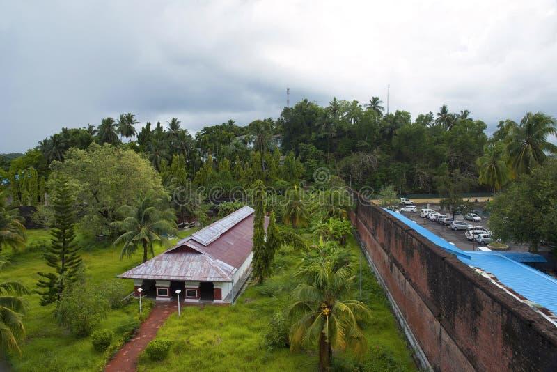 Zelluläres Gefängnis, Port Blair, Andaman-Inseln Halle im offenen Hof stockfoto