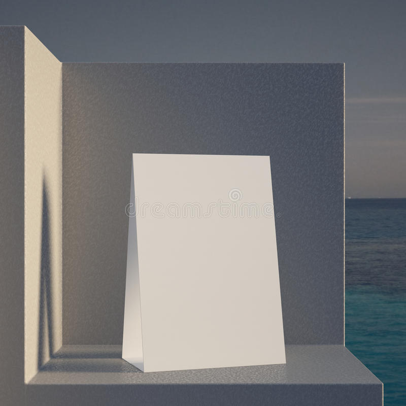 Zelt der leeren Tabelle auf einem Steinsockel stock abbildung