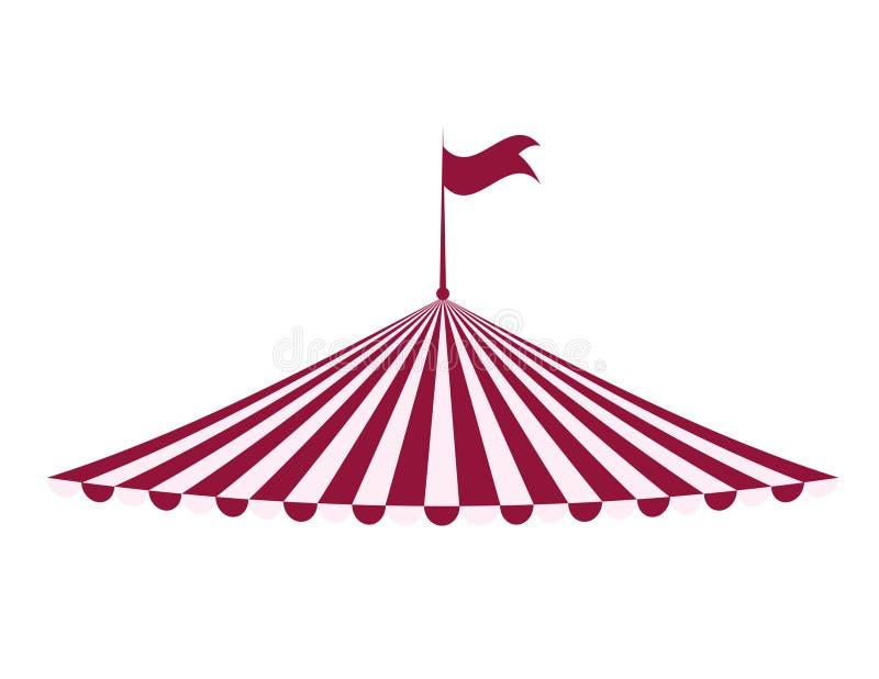 Zelt-Ikone Zirkus und Karnevalsdesign Dekorativer Hintergrund als stilisiert Strudel der Wellen lizenzfreie abbildung