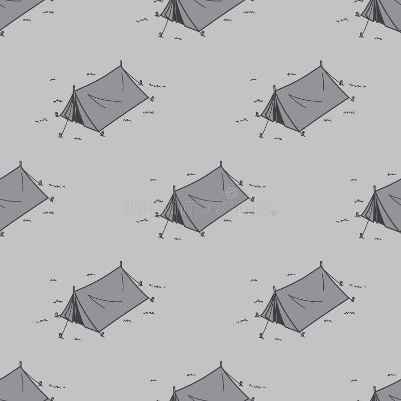 Zelt-nahtloses Muster-kampierendes Picknick-Vektortapeten-Hintergrundgrau vektor abbildung