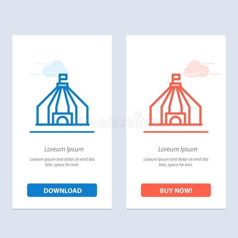 Zelt, Zelt, Zirkus-Blau und rotes Download und Netz Widget-Karten-Schablone jetzt kaufen vektor abbildung