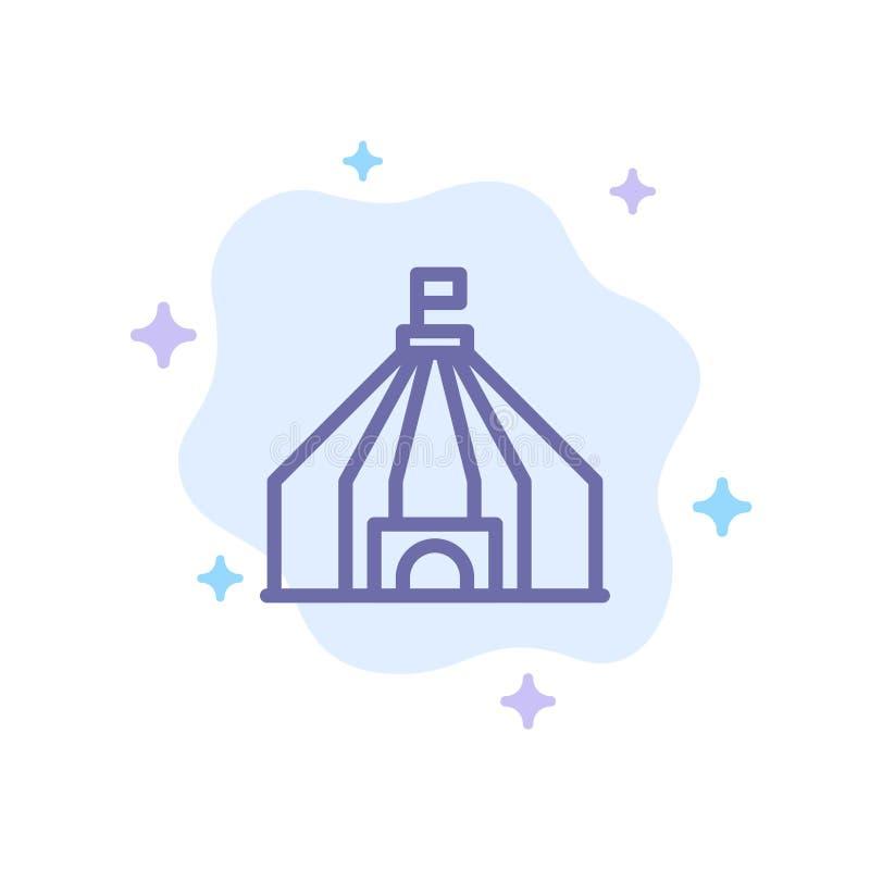 Zelt, Zelt, Zirkus-blaue Ikone auf abstraktem Wolken-Hintergrund stock abbildung