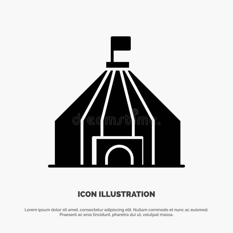 Zelt, Zelt, Zirkus feste schwarze Glyph-Ikone vektor abbildung
