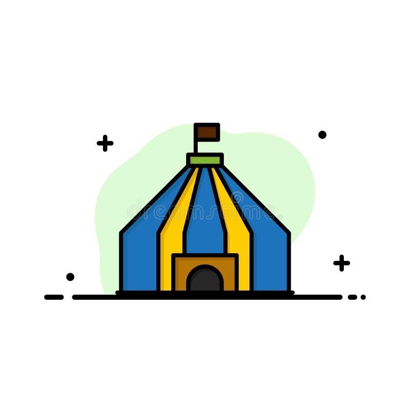 Zelt, Zelt, Zirkus-Geschäfts-flache Linie füllte Ikonen-Vektor-Fahnen-Schablone stock abbildung